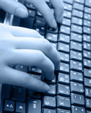 Human hands and laptop Royalty Free Stock Images
