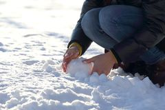Human hands molded the snow in winter. The human hands molded the snow in winter Royalty Free Stock Images