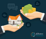 Human hands with money and building house. Flat style concept design illustration. Royalty Free Stock Photos