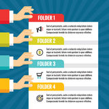 Human hands with numbered blocks - infographic business concept - vector concept illustration in flat style design. Royalty Free Stock Photos