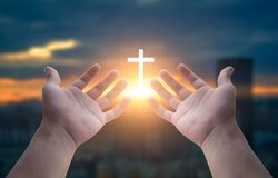 Human hands open palm up worship stock photography