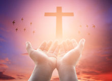 Human hands open palm up worship. Eucharist Therapy Bless God He stock photo