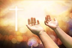 Human hands open palm up worship. Eucharist Therapy Bless God He. Lping Repent Catholic Easter Lent Mind Pray. Christian concept background Royalty Free Stock Images
