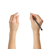 Human hands with pencil and eraser rubber Stock Photo