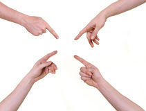 Human hands pointing to center Stock Photos