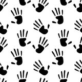 Human hands prints black and white seamless pattern, vector Stock Photo