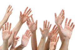 Human hands raised Royalty Free Stock Photography