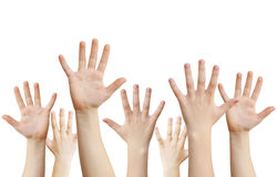 Human hands raised up. Isolated on white, clipping path Stock Images