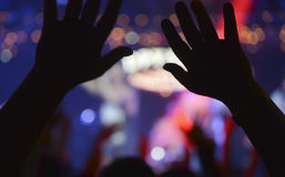 Human hands raised up Royalty Free Stock Image