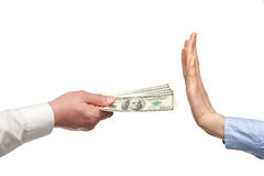 Human hands rejecting an offer of money stock image