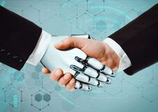 Human hands and robot hand shaking hands