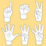 Human hands set. (fingers combinations Stock Image