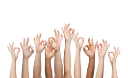 Human hands showing ok sign Stock Images