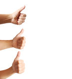 Human hands showing thumbs Stock Image