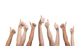 Human hands showing thumbs up Royalty Free Stock Photos