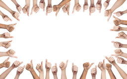 Human hands showing thumbs up in circle Stock Photos