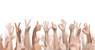 Human hands showing thumbs up, ok and peace signs. Gesture and body parts concept - human hands showing thumbs up, ok and peace signs stock photos