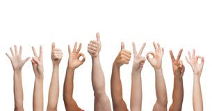 Human hands showing thumbs up, ok and peace signs Stock Image