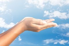 Human hands  sky  background. Human hands blue sky  background Royalty Free Stock Images