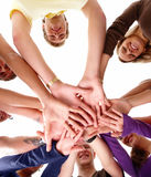 Human hands together showing unity Royalty Free Stock Images