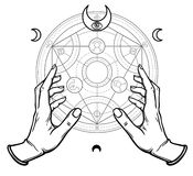 Human hands touch an alchemical circle. Mystical symbols, sacred geometry. Vector illustration isolated on a white background Royalty Free Stock Photography
