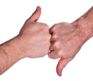 Human hands with up and down fingers on white Stock Photography