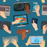 Human hands with vector computer keyboard and mouse technology internet work typing keys seamless pattern background Stock Photo