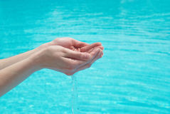 Human hands with water Royalty Free Stock Photo