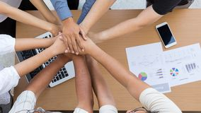 Human hands were a collaboration. Concept of teamwork business trust group pf people stock photo