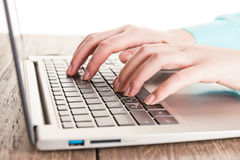 Human hands working on laptop Royalty Free Stock Image
