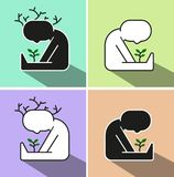 Human harvest. A man grows a sprout.  Vector illustration. Fore variant Royalty Free Stock Images