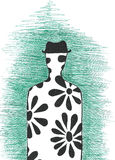 Human in hat silhouette. Hand-drawn human silhouette on green background with hat and printed by flowers made by pen Vector Illustration