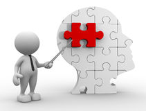 Human head. 3d people - man, person pointing a human head of pieces puzzle Stock Image