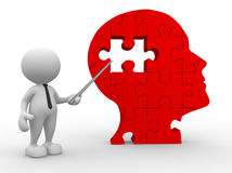 Human head. 3d people - man, person pointing a human head of pieces puzzle Stock Photography