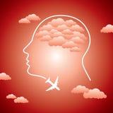 Human head and aero plane Stock Photo