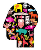 Human head with animal icons Royalty Free Stock Photo