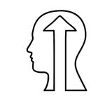 Human head with arrow icon image Royalty Free Stock Photo