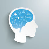 Human Head Arrows Brain. Human head with arrows in the brain on the gray background stock illustration