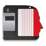 Human head as floppy disks Royalty Free Stock Image