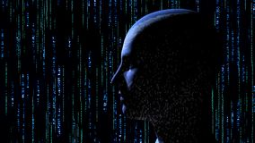 Human head with binary code at matrix background. 3d rendering Royalty Free Stock Images
