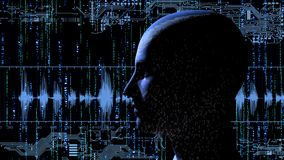 Human head with binary code at matrix background with electronic circuits. 3d rendering Stock Images