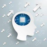 Human Head Brain Arrows Microchip Success vector illustration