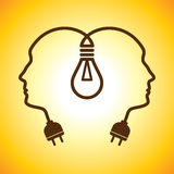 Human head with bulb Stock Image