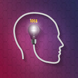 Human head with bulb. Thinking a new idea on hexagonal background Stock Photo