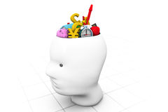 Human head with business icons. 3d human head with business icons Stock Photography