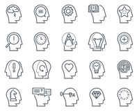 Human head, business and motivation icon set Royalty Free Stock Image