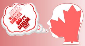 Human head in canada flag and speech bubble Stock Photo