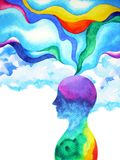 Human head, chakra power, inspiration abstract thinking inside your mind, watercolor painting. Art stock illustration
