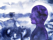 Human head, chakra power, inspiration abstract thinking, world, universe inside your mind. Watercolor painting stock illustration