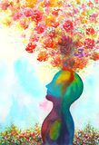 Human head, chakra power, inspiration abstract thinking, world, universe inside your mind, watercolor painting. Art vector illustration